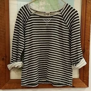 Anne Klein Terry Cloth Striped Sweatshirt W/ Studs